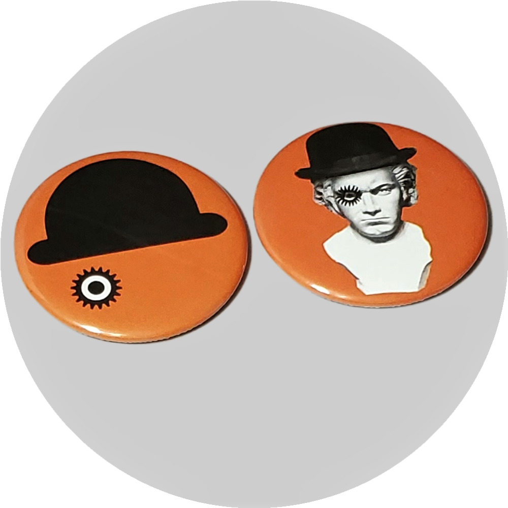 "A Clockwork Orange handcrafted 2PC 2.25"" round button pin set"