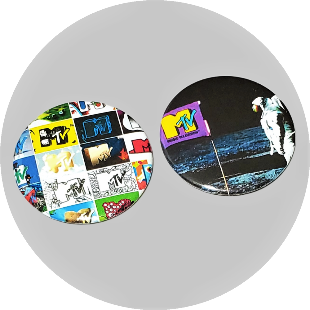 "MTV Moon Man logo handcrafted 2PC 2.25"" circle button pin set"