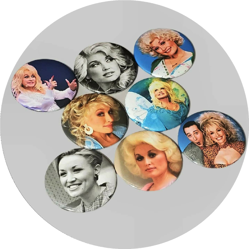 "Dolly Parton handcrafted 8PC 2.25"" round magnetic collection"