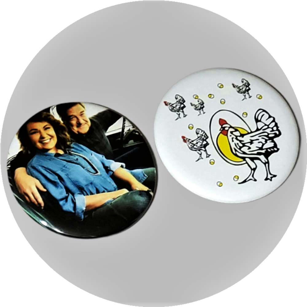 "Roseanne & Dan Conner handcrafted 2PC 2.25"" round magnet set"