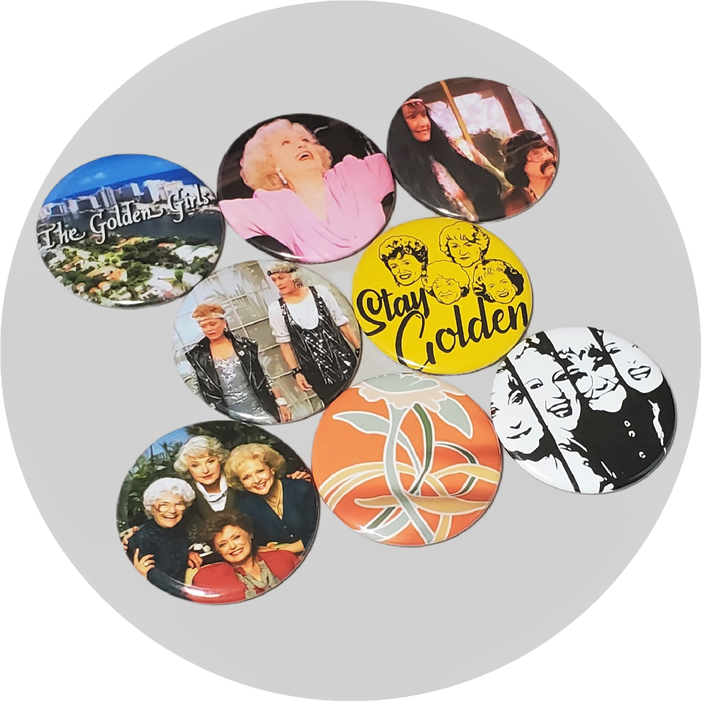 "The Golden Girls handcrafted 8PC 2.25"" round button collection"