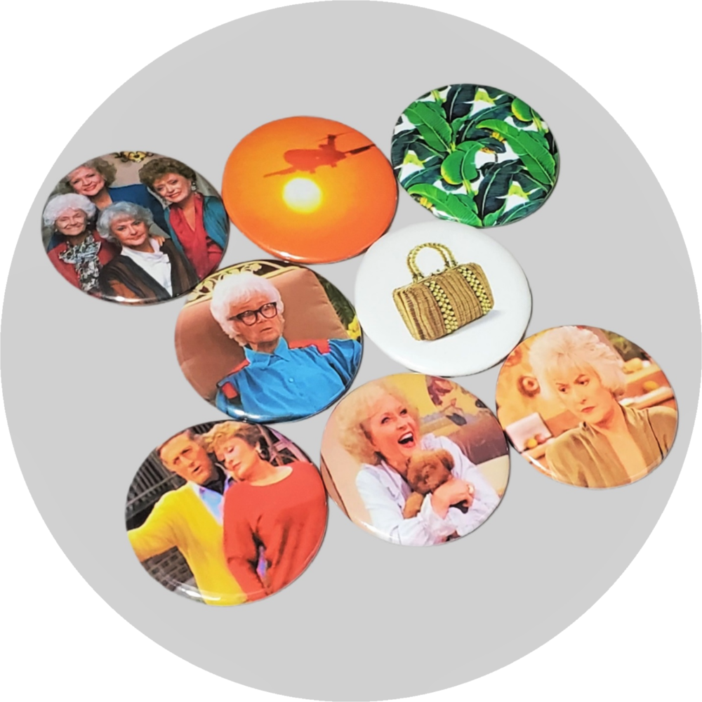 "The Golden Girls handcrafted 8PC 2.25"" round magnetic collection"