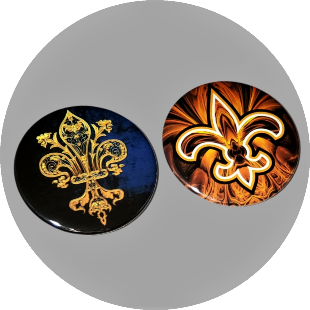 "Fleur De lis symbol decoration handcrafted 2PC 2.25"" round button pin set"