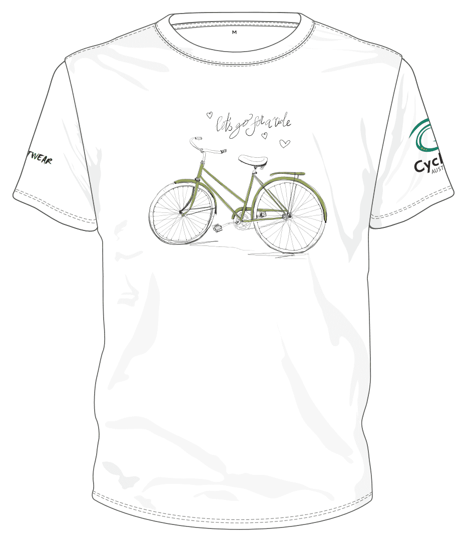 Cycling Australia T-Shirt - Let's Go For A Ride (White) [CA1001WHITE]