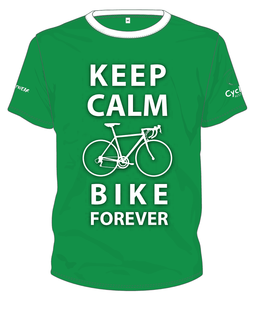 Cycling Australia T-Shirt - Keep Calm Bike Forever (Green) [CA11001GREEN]