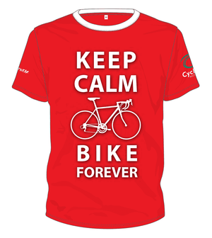 Cycling Australia T-Shirt - Keep Calm And Bike Forever (Red) [CA11001RED]