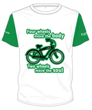 Cycling Australia T-Shirt -Two Wheels Move The Soul (White/Green) [CA12001GREEN]