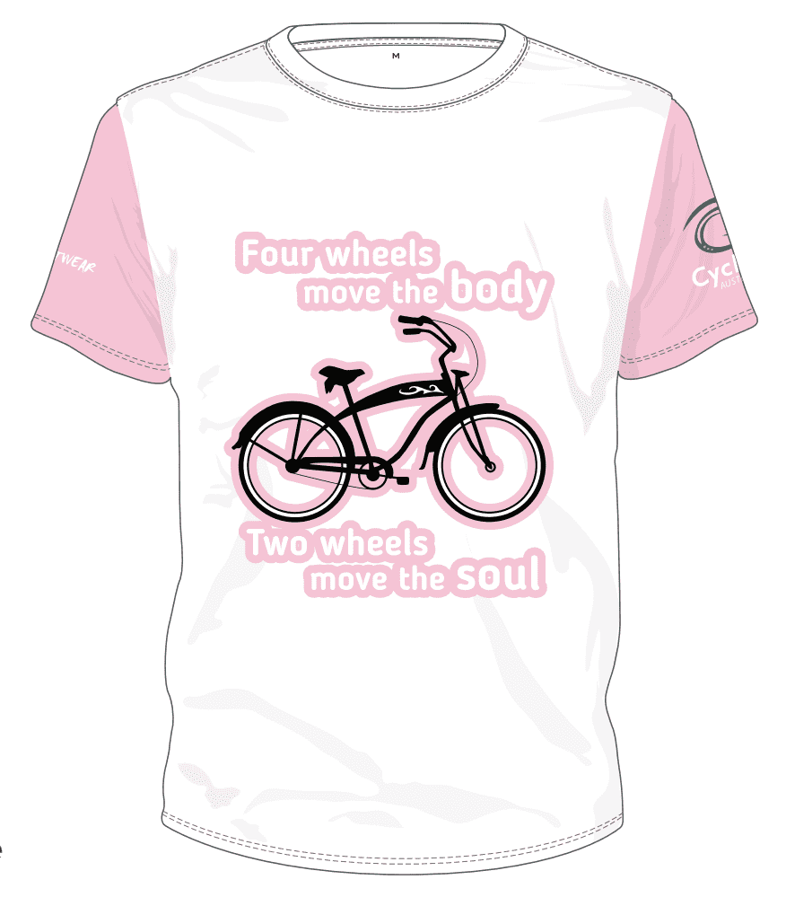 Cycling Australia T-Shirt - Two Wheels Move The Soul (White/Pink) [CA12001PINK]