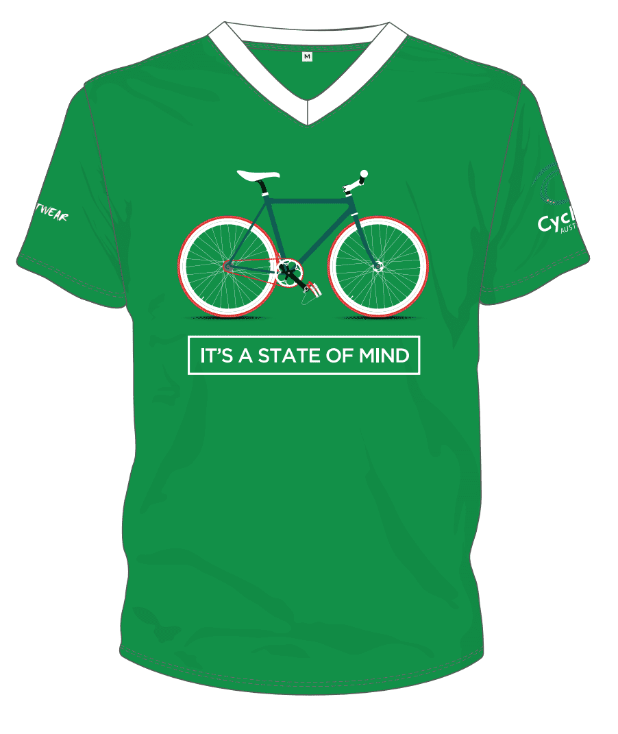 Cycling Australia T-Shirt - It's A State Of Mind (Green) [CA3001Green]