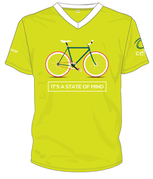 Cycling Australia T-Shirt - It's A State Of Mind (Lime) [CA3001Lime]