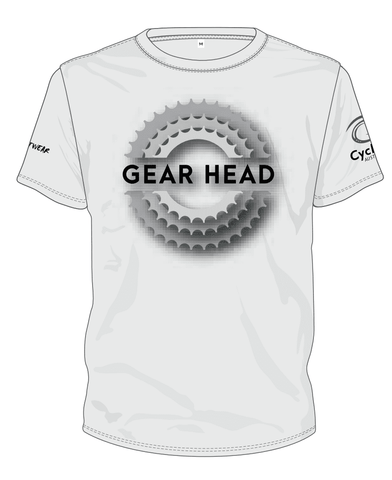 Cycling Australia T-Shirt - Gear Head (White) [CA5001White]