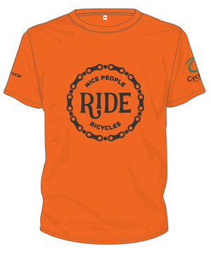 Cycling Australia T-Shirt - Nice People Ride Bicycles (Orange) [CA7001Orange]