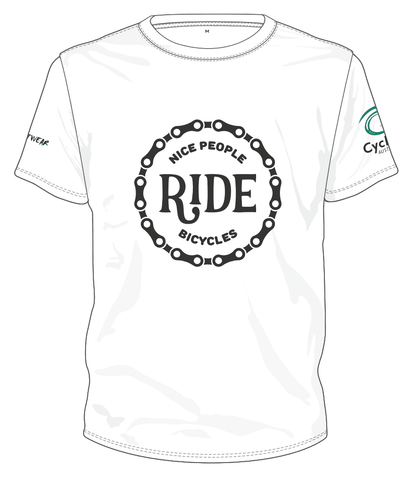 Cycling Australia T-Shirt - Nice People Ride Bicycles (White) [CA7001White]