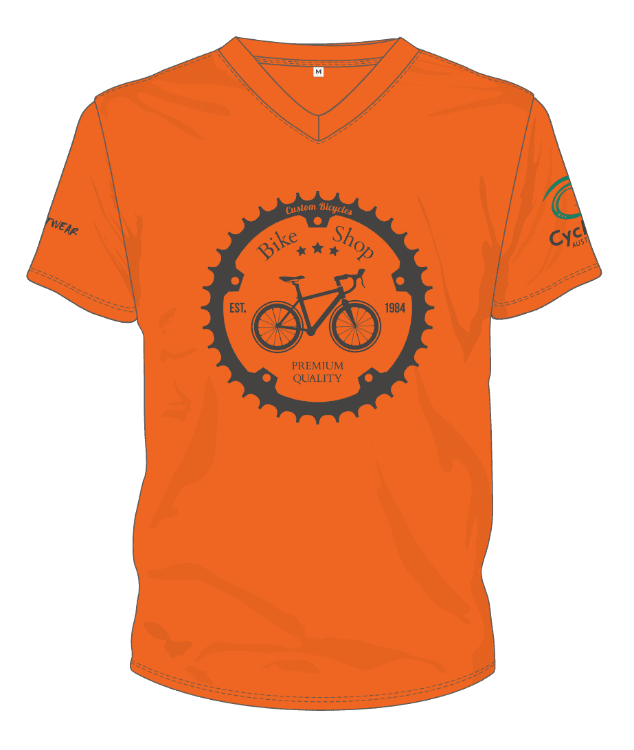 Cycling AUstralia T-Shirt - Retro Bike Shop (Orange) [CA9001ORANGE]