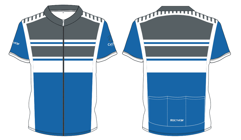 Cycling Jersey-CHARCOAL/WHITE/ROYAL - CA2018 -     [CAJ2]