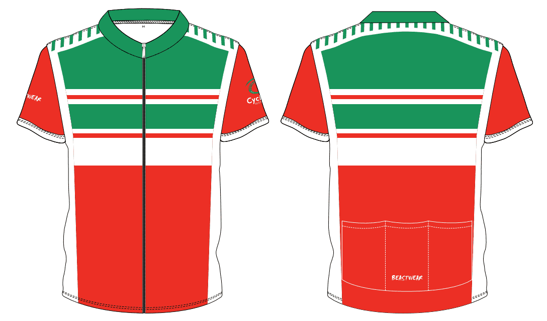 Cycling Jersey-GREEN/WHITE/RED - CA2018 -     [CAJ2]
