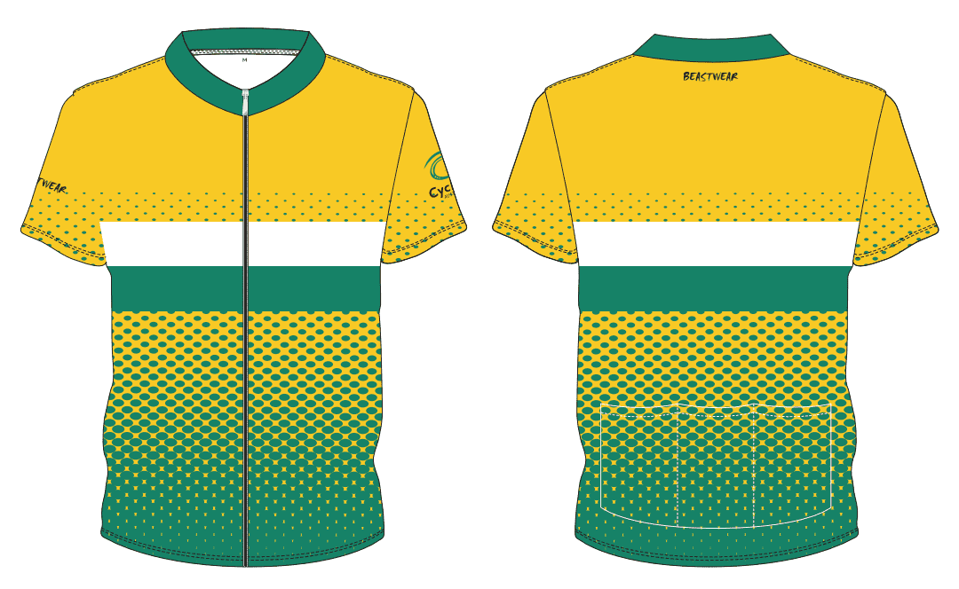 Cycling Jersey-GOLD/WHITE/GREEN - CA2018 -     [CAJ4]