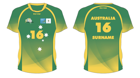 Australian 2019 World Korfball Championships Playing Shirt (Green/Gold)