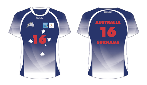 Australian 2019 World Korfball Championships Training Shirt (Navy/Green)