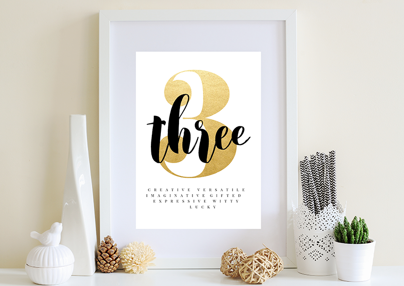 Numerology Life Path Number 3 - Digital Print Wall Art Download ...