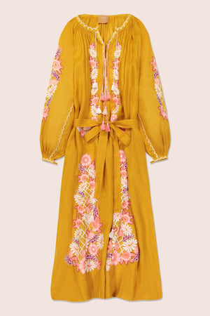Flower Net Maxi Dress in Yellow