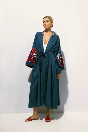 Mexico Maxi Wrap Dress in Denim