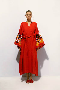 Mexico Maxi Wrap Dress in Red