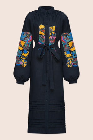 Broken Tiles Midi Dress in Navy