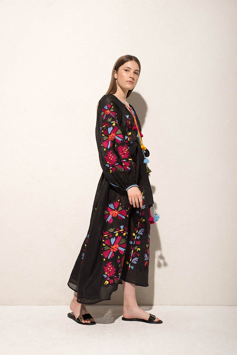 Tina maxi dress in black - MARCH11 - embroidered linen summer dress - Ukrainian dress - Vita Kin dress - Figue - Yuliya Magdych - Gigi Hadid