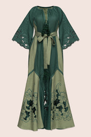 Dragon Flower Maxi Dress in Green