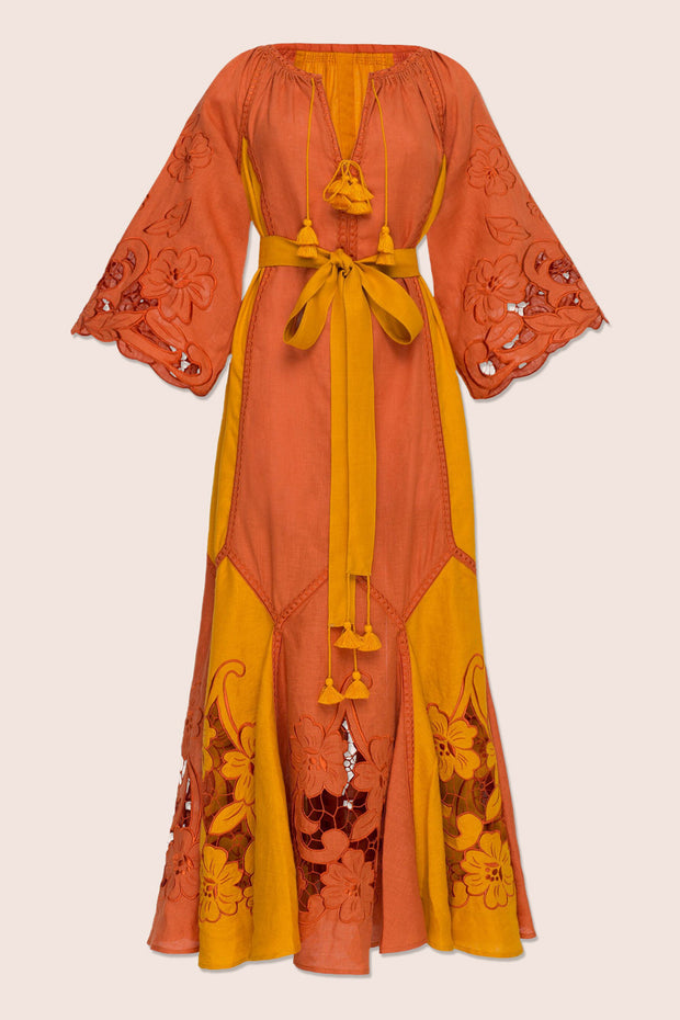 Dragon Flower Maxi Dress in Orange