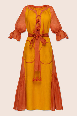 Keiko Midi Dress in Orange and Yellow