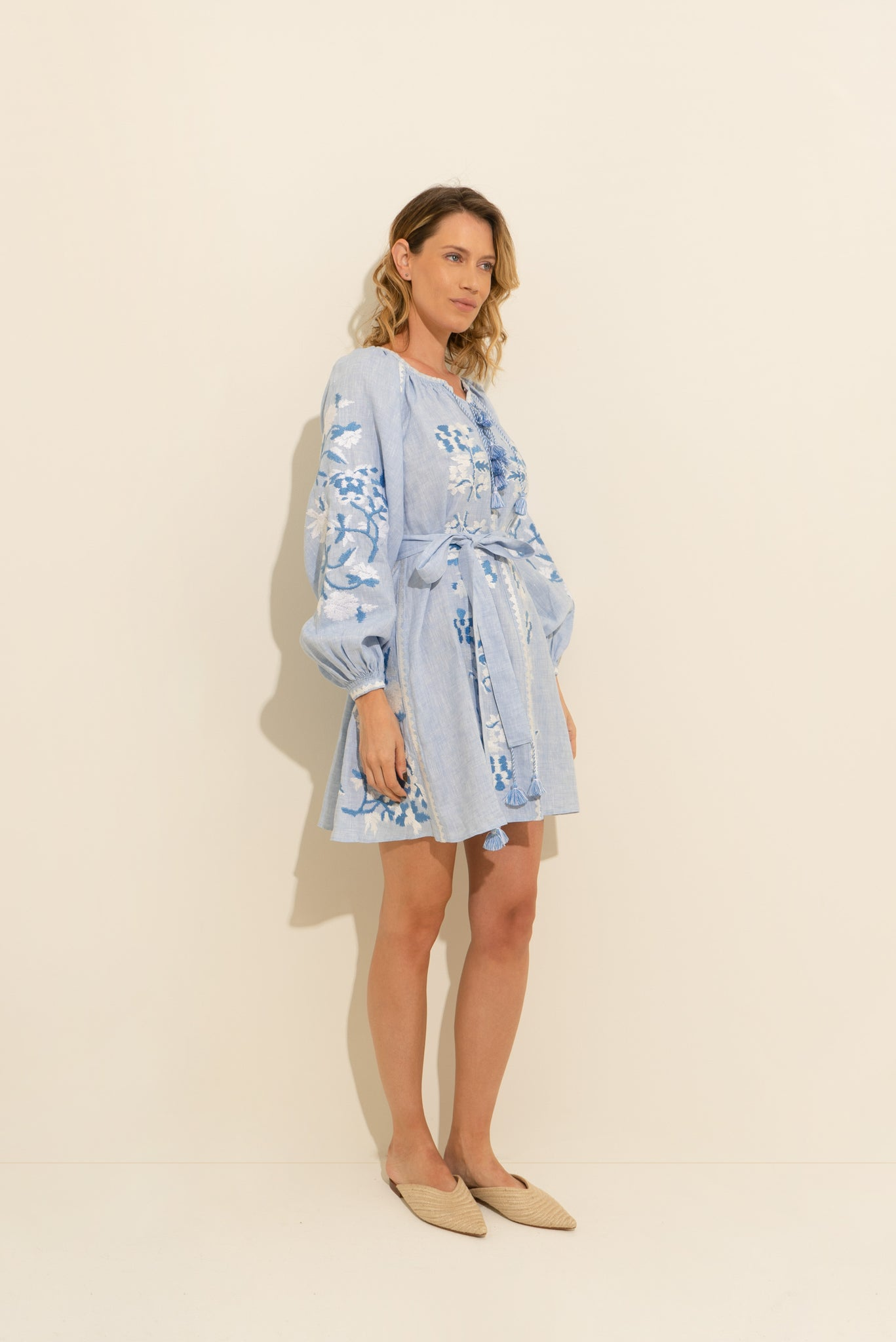 Roberta Mini Dress in Sky Blue