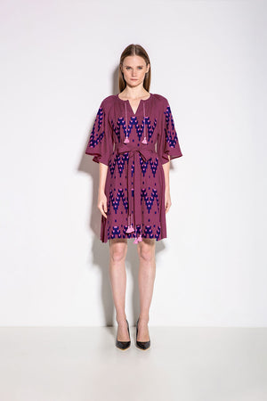 Naomi Mini Dress in Dark Fuchsia