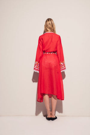 Kelly Midi Dress in Red