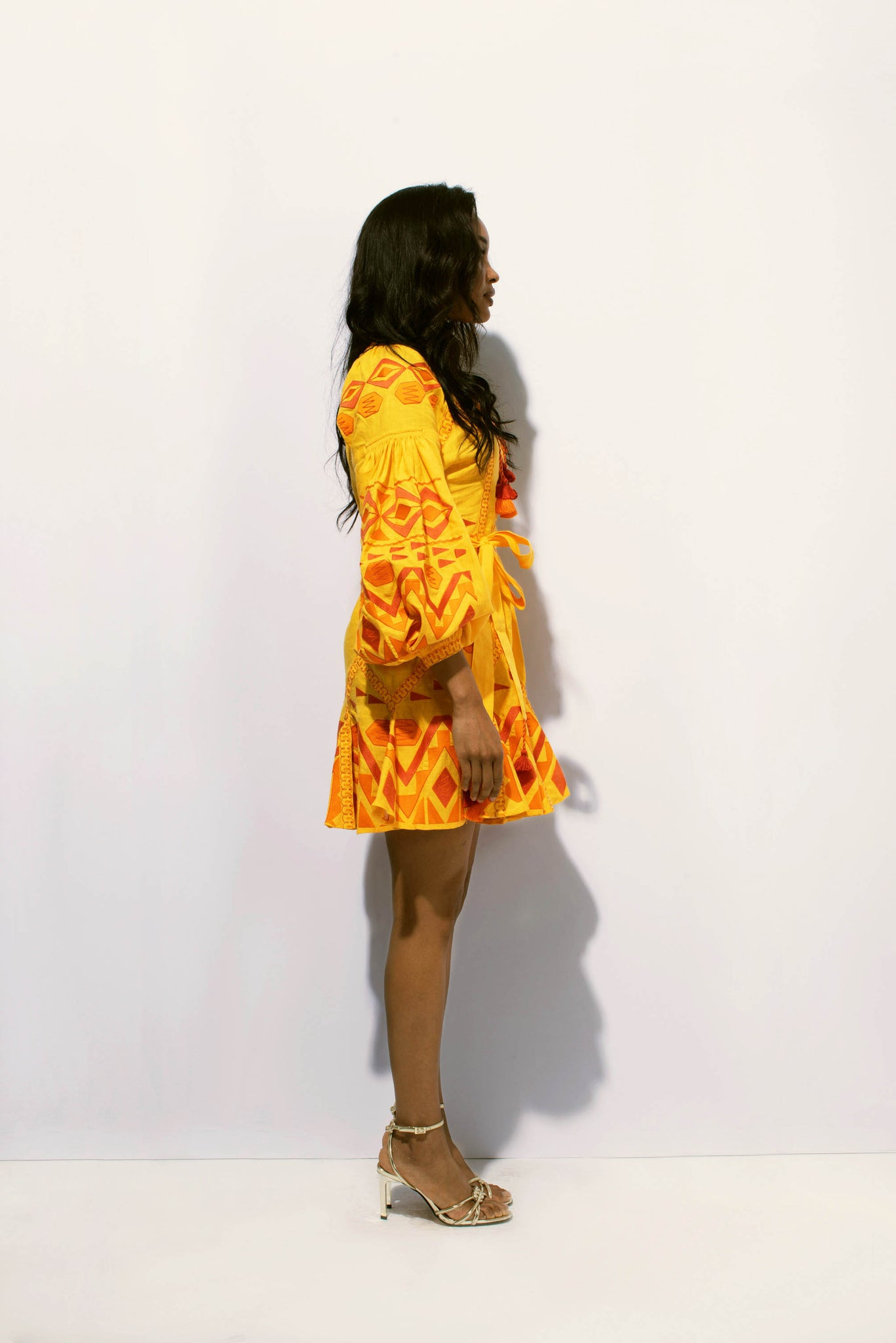 Kilim Mini Flared Dress in Yellow