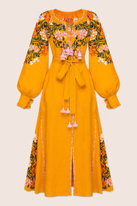 Gaudi Florals Classic Midi Dress in Yellow