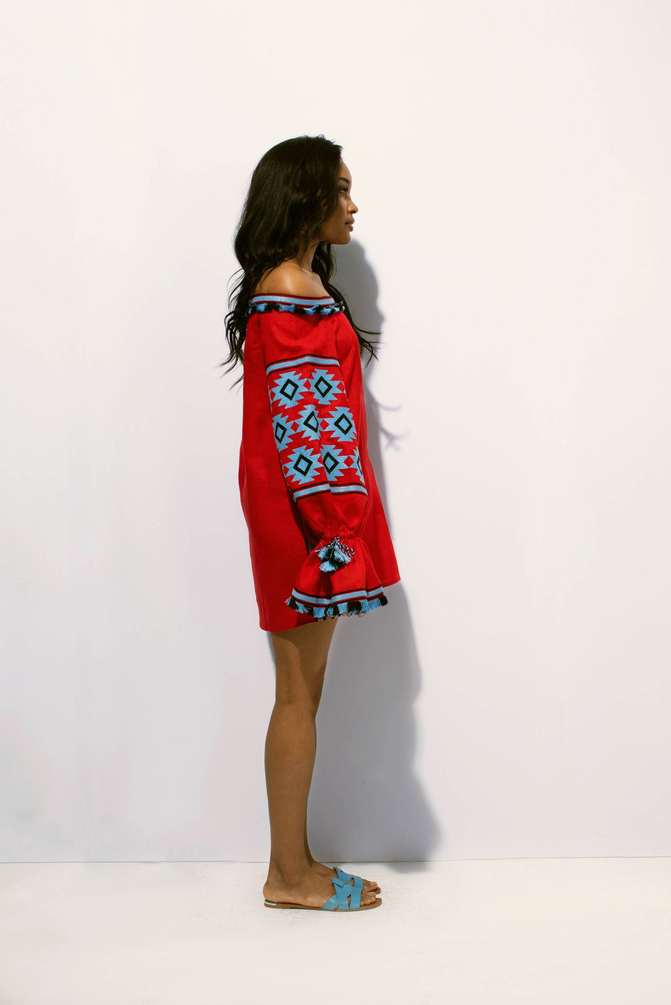 Geometry Off-the-shoulder Tunic in Red