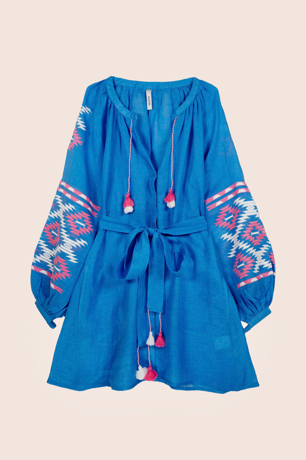 Istanbul Mini Dress in Blue
