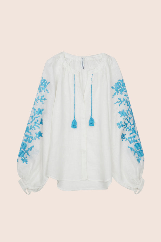 Adele Blouse in White with Blue