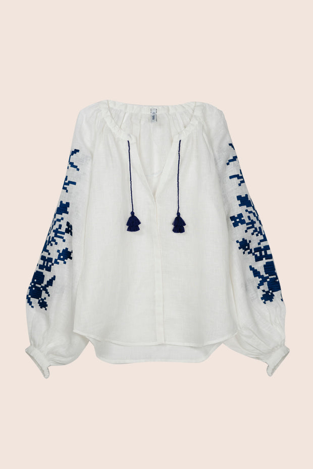 Adele Blouse in White with Navy