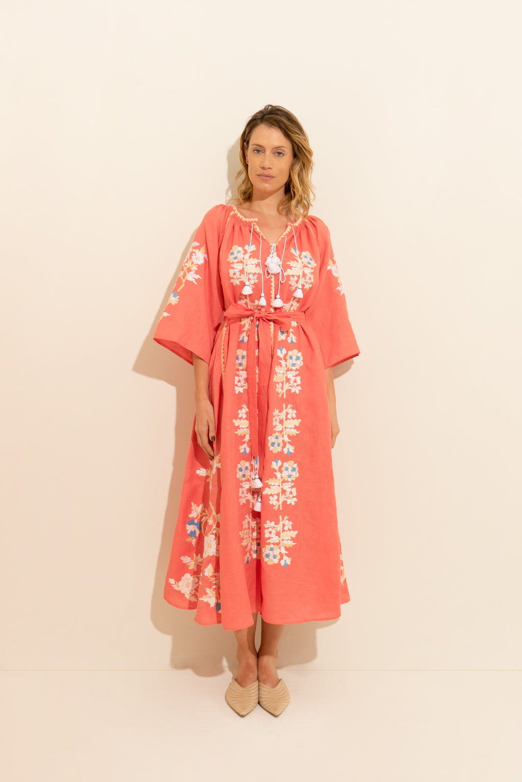 Rose Power Maxi Dress in Navy with Red