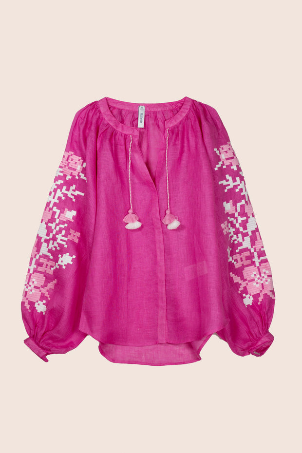 Adele Blouse in Fuchsia with Pink
