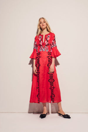Annabell Maxi Dress in Red with Black