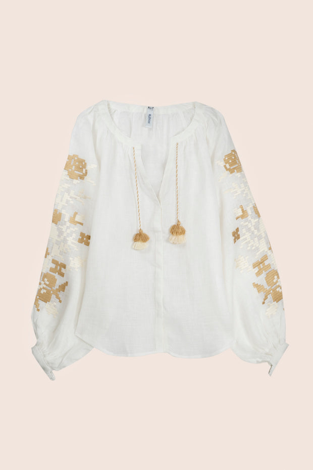 Adele Blouse in White with Beige