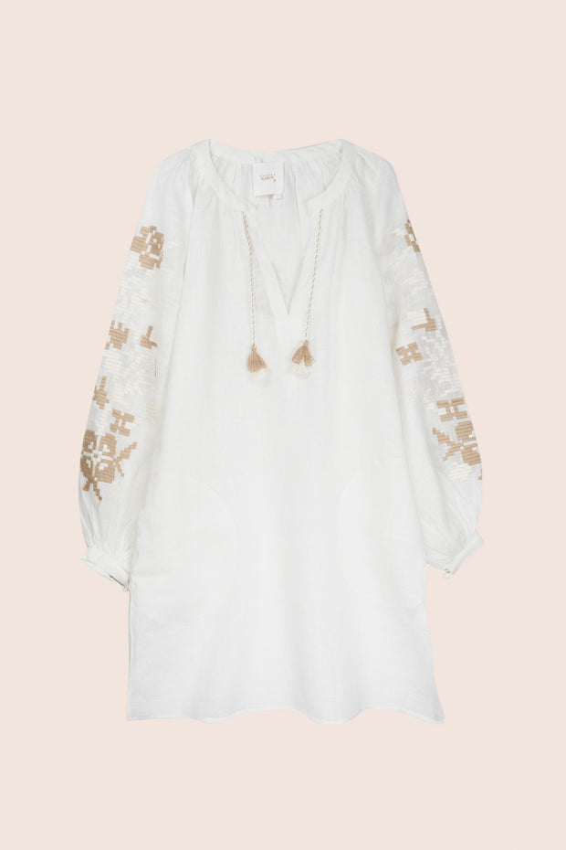 Adele Tunic in White with Beige