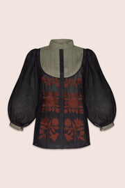 Amo Blouse in Black and Green