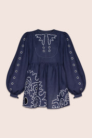 Shaima Blouse in Navy