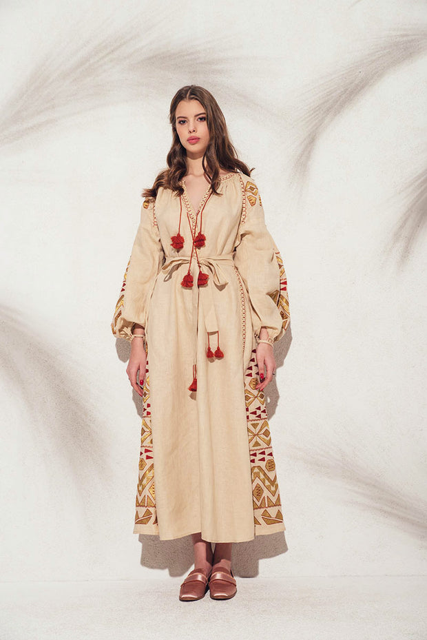 Kilim Maxi Dress in Beige with Gold