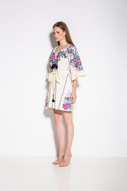 Gaudi Florals Classic Mini Dress in Creme